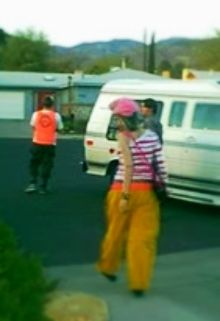 teenaged Marty, Holly, Kirby, on their way to a van to go to a party