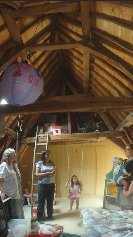 inside of beamed roof of older home in Netherlands