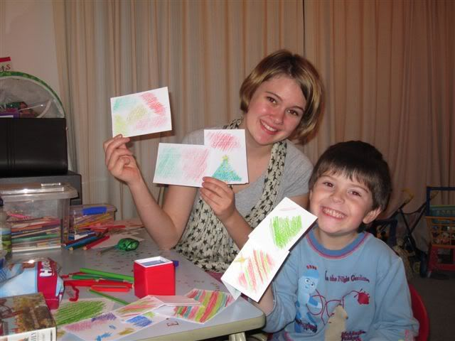 Holly and Adam making Christmas cards