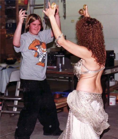 Kirby bellydancing with Michael's mom
