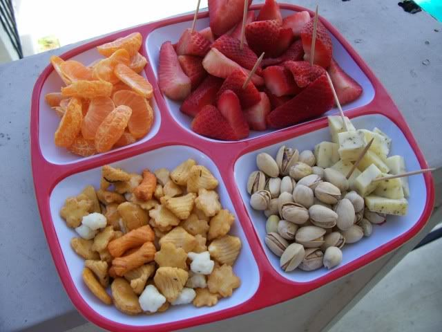 kid snack food in four-section tray