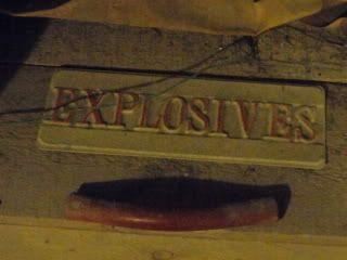 antique 'explosives' sign