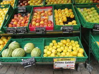 fruit display at an outdoor market