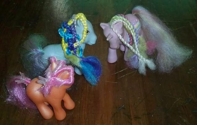 fancy braids on three My Little Ponies