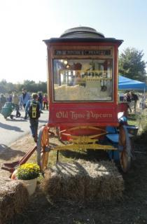 popcorn wagon from horse-drawn days, red and gold, with glass windows