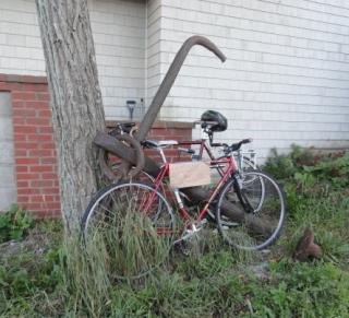 bike chained to an anchor