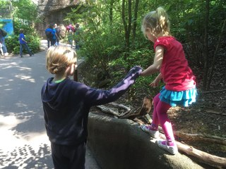 Berend helping his niece at the zoo