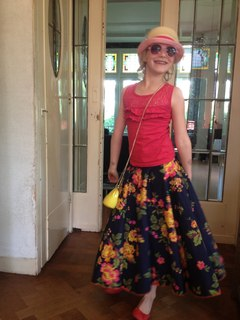 Fiene showing the skirt we made together