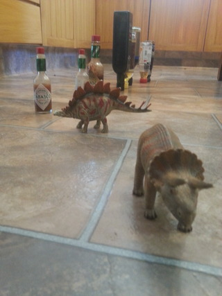 floor scenario with kitchen bottles and toy dinosaurs