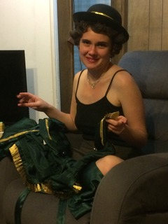 Holly Dodd, working on a costume