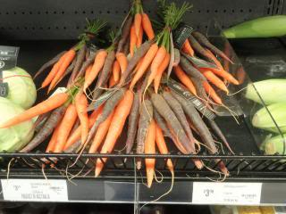 colored carrots, in a store