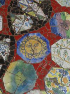 mosaic of broken art tiles by kids