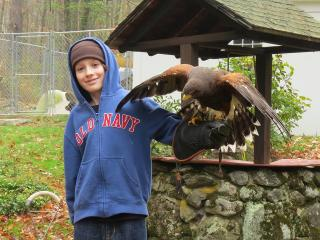 Robbie holding a hawk, by a stone well with a roof