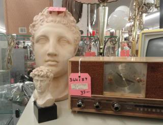 statues, radio TV in antique shop