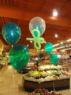 balloons in the produce section of a new grocery store