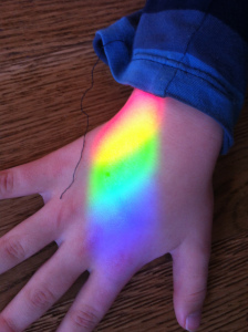 rainbow on child's hand