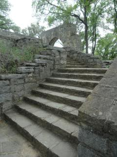 stone steps, up to an arch, at a state park in Texas