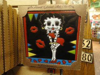 Glazed tile art of Betty Boop in the style of The Day of the Dead