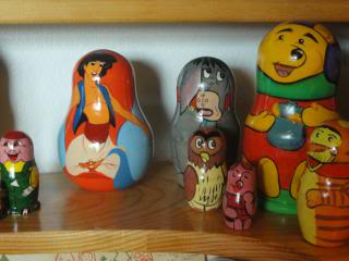 Russian dolls based on Disney characters in a toy museum