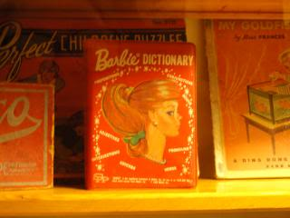 Barbie Dictionary, in display of antique toys