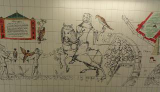 medieval-style art in a tube station