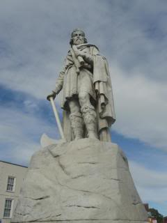 large statue of King Alfred, with an axe