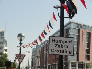 Sign in Liverpool: Humped Zebra Crossing