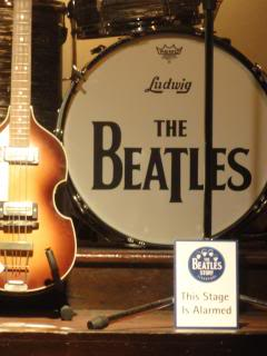 bass guitar and Beatles bass drum, on display in Liverpool
