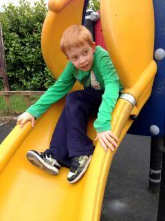spiral slide with boy