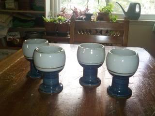 four ceramic goblets