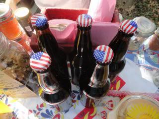 drink bottles with American-flag metal caps