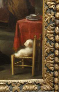 little white dog on a chair in a painting