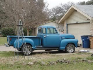 antique blue pickup