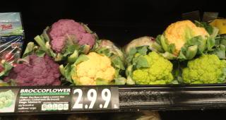 'broccoflower' at a grocery store
