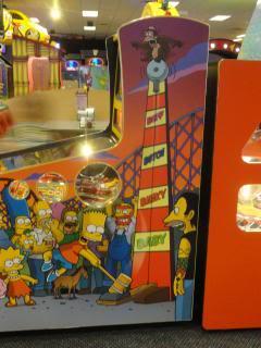 Simpson's pinball machine (art on the side of it)