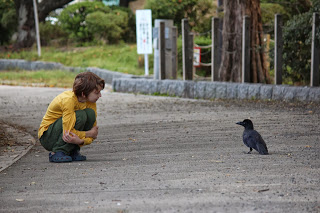 boy and bird looking at each other, on a path