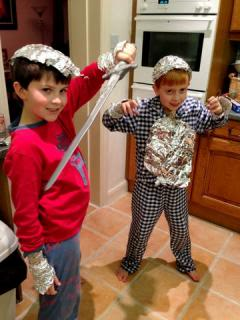 tin foil armor in the kitchen