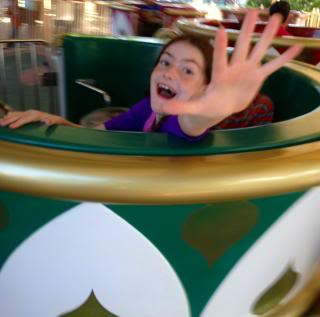 girl on the teacup ride