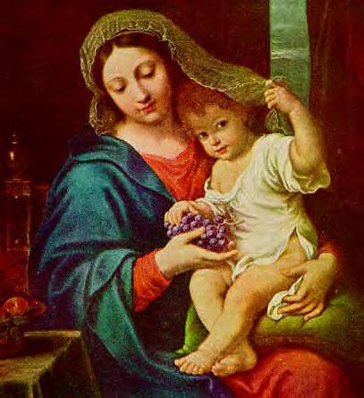 Mary Feeding Jesus Grapes